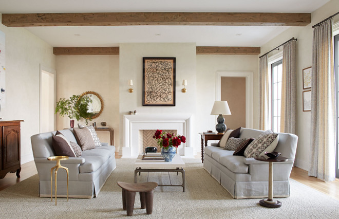 Neutral living room with light stained beams. Neutral living room with light stained beams. Neutral living room with light stained beams. Neutral living room with light stained beams #Neutrallivingroom #livingroom #lightstainedbeams #beams Andrew Howard Interior Design