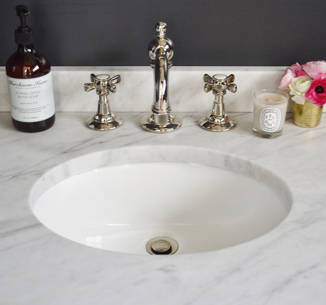 Powder Bath Sink. Powder Bath Sink. Powder Bath Sink. Powder Bath Sink #PowderBath #Sink Beautiful Homes of Instagram @HomeSweetHillcrest