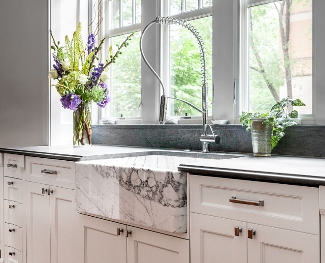 Quartzite Sink. Quartzite Farmhouse Sink. Gorgeous stone farmhouse sink and leathered countertop. Quartzite Sink. Quartzite Farmhouse Sink #QuartziteSink #QuartziteFarmhouseSink Middlefork Development LLC