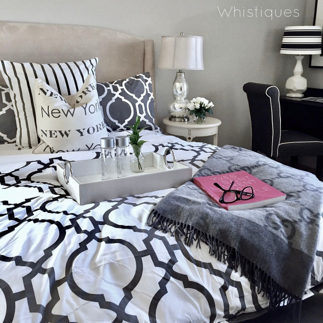 Quatrefoil Bedding. Paint color is Pittsburgh Paints Silver Dollar. Grey Quatrefoil Bedding #QuatrefoilBedding Beautiful Homes of Instagram @whistiques