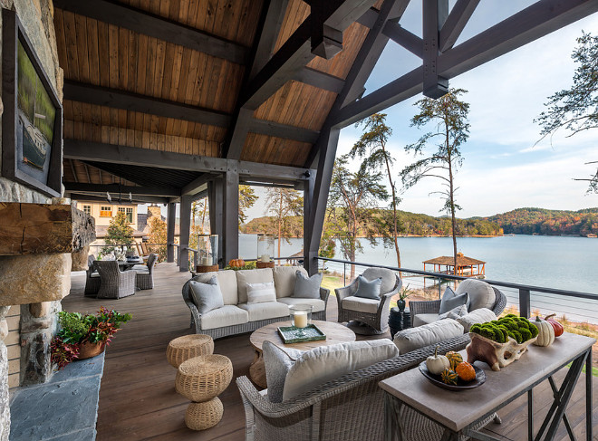 Rustic Back Deck, Rustic Back Deck This transitional timber frame home features a wrap-around porch designed to take advantage of its lakeside setting and mountain views  #RusticDeck