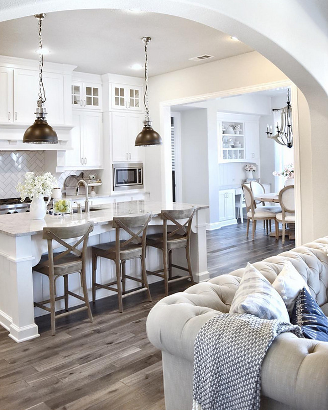 The gallery for sherwin williams repose gray kitchen for Gray and white family rooms