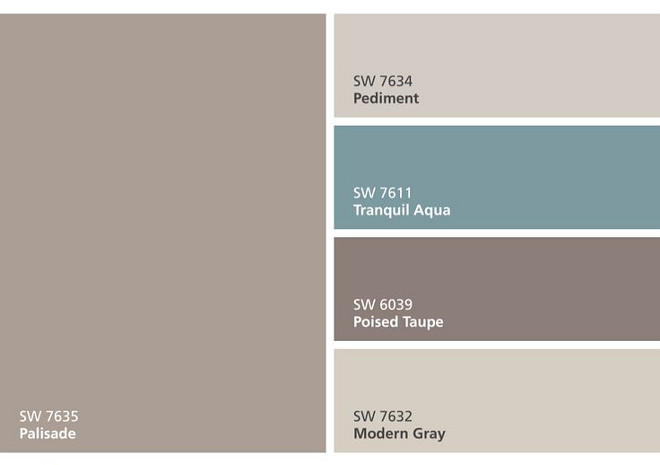 Sherwin Williams SW7635 Palisade, Sherwin Williams SW7634 Pediment, Sherwin Williams SW7611 Tranquil Aqua, Sherwin Williams SW6036 Poised Taupe, Sherwin Williams SW7632 Modern Gray #SherwinWilliamsSW7635Palisade SherwinWilliamsSW7634Pediment #SherwinWilliamsSW7611TranquilAqua SherwinWilliamsSW6036PoisedTaupe SherwinWilliamsSW7632ModernGray