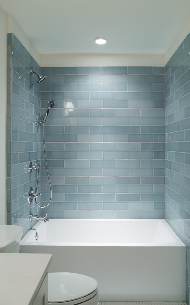 Shower Tile. 2x6 subway tile. 2x6 shower tile. Shower with 2x6 subway tile. 2x6 blue tile #ShowerTile #2x6tile #2x6subwaytile #2x6showertile #Shower2x6subwaytile #2x6bluetile Willow Homes