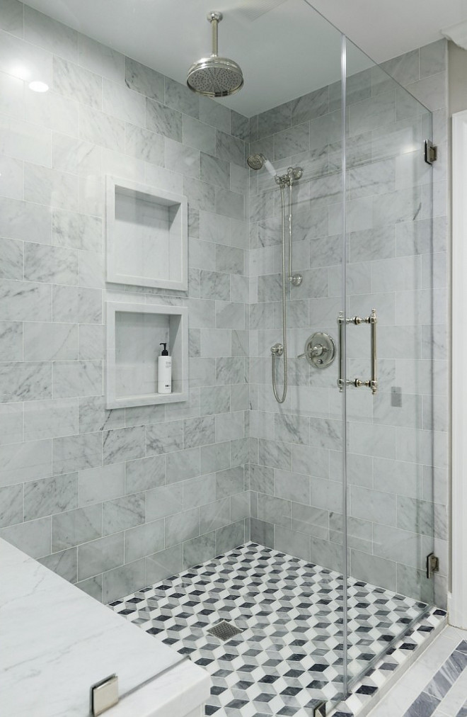 Shower Wall and Floor Tile Ideas. Combination of wall and floor tile in this shower. Shower wall and floor tile combination #ShowerWallTile #Showertile #FloorTile #Showertileideas #ShowertileCombination #shower Hamilton Architects