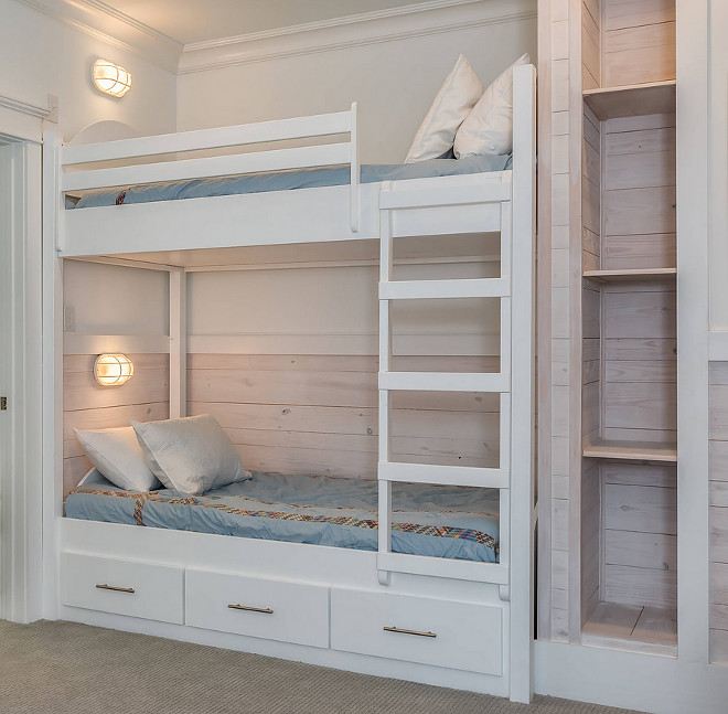 Simple Built in Bunk Beds Plan. Simple Built in Bunk Beds Plan Ideas. Whitewashed Pine shiplap add a coastal feel to this bunk room with simple built-in bunk beds. Simple Built in Bunk Beds Plan. Bunk room with built-in bunk beds and ladder #SimpleBunkBeds #BunkBeds #BunkBedPlan #simpleBunkBedplan #bunkroomladder #bunkbedladder Erin E. Kaiser, Kaiser Real Estate Sales, Inc