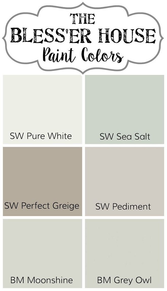 Soothing Paint Colors. Soothing Interior Paint Colors Sherwin Williams Pure White. Sherwin Williams Sea Salt. Sherwin Williams Perfect Greige. Sherwin Williams Pediment. Benjamin Moore Moonshine. Benjamin Moore Grey Owl #SoothingInteriorPaintColors #SoothingPaintColors #SherwinWilliamsPureWhite #SherwinWilliamsSeaSalt #SherwinWilliamsPerfectGreige #SherwinWilliamsPediment #BenjaminMooreMoonshine #BenjaminMooreGreyOwl Via The Blesser House