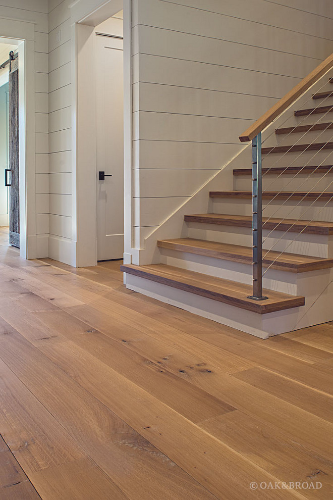 Stair Treads. Stair Treads Hardwood floor and shiplap walls #StairTreads Oak & Broad