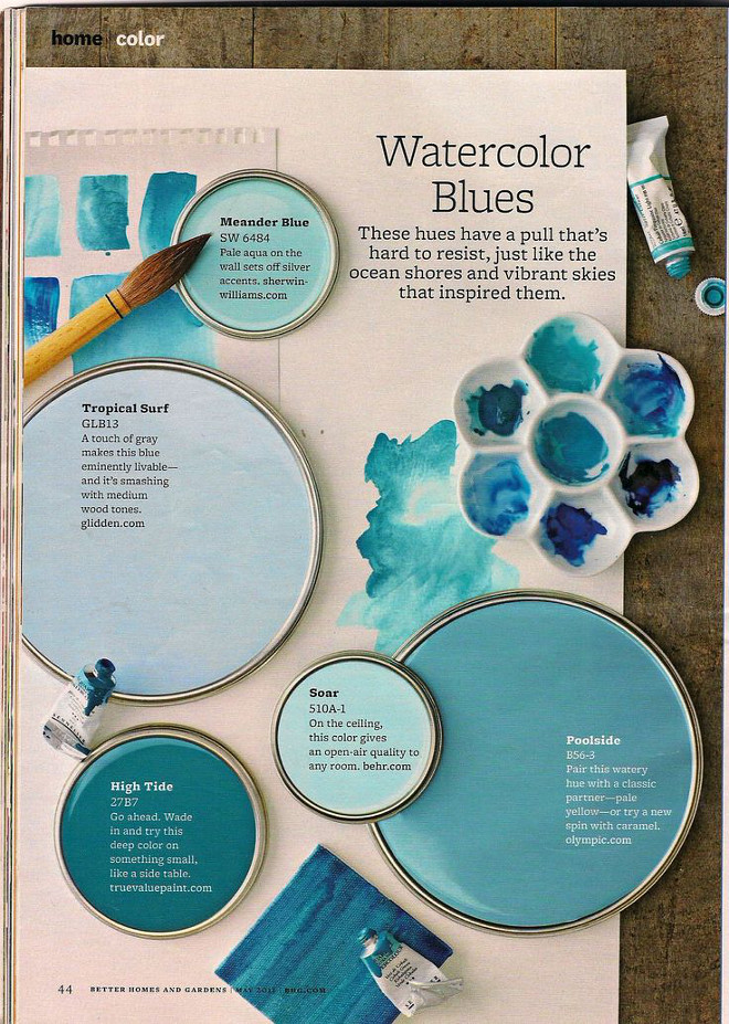 Turquoise Paint Color, Aqua Paint Color, Teal Paint Color Sherwin Williams SW6484 Meander Blue, Tropical Surf Glidden, High Tide True Value Paint, Behr Soar, Poolside Olympic #SherwinWilliamsSW6484MeanderBlue #TropicalSurfGlidden #HighTideTrueValuePaint #BehrSoar #PoolsideOlympic Via Better Homes and Garden