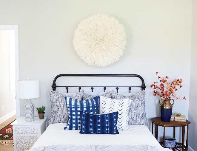 White Juju Hat. Bedroom with white juju hat #whitejujuhat #jujuhat Beautiful Homes of Instagram @house.becomes.home