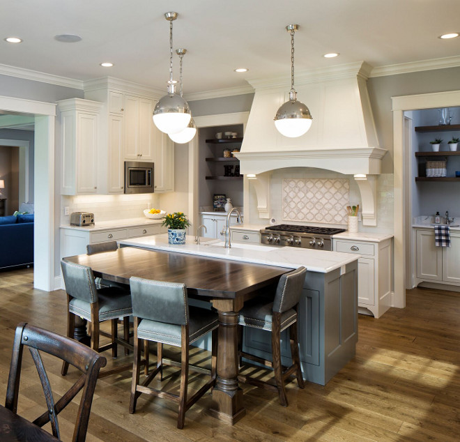 White kitchen with grey kitchen island enameled in Benjamin Moore Chelsea Gray HC-168 - Beautiful White kitchen with grey kitchen island enameled in Benjamin Moore Chelsea Gray HC-168 #Whitekitchen #greykitchenisland #BenjaminMooreChelseaGray #BenjaminMooreHC168 Grace Hill Design