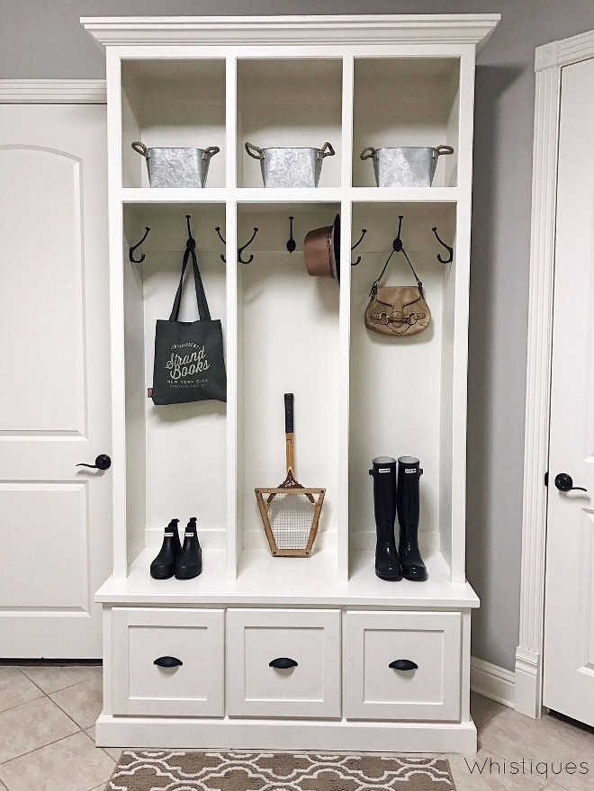 White Mudroom Cabinet Paint Color Pittsburgh Paints Edelweiss. White Mudroom Cabinet Paint Color Pittsburgh Paints Edelweiss #WhiteMudroomCabinet #MudroomCabinet #PaintColor #PittsburghPaints #Edelweiss