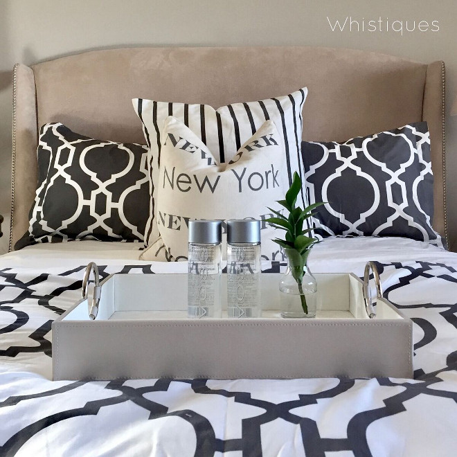 White and grey bedding. White and grey bedding. Comforter: Downlite Bedding Duvet & Shams: Homegoods White and grey bedding. White and grey bedding #Whiteandgreybedding Beautiful Homes of Instagram @whistiques
