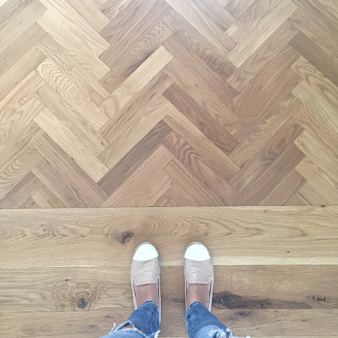 Entrance Floor. My favorite part of our foyer is the herringbone wood floors. All the wood floors are white oak which we sanded down and re-stained. It took a few tries to get it right, but we are so happy with the end result! They are a custom blend of Minwax driftwood and pickled oak. #oakfloors #hardwood #herringbone #herringbonewoodfloors Beautiful Homes of Instagram @HomeSweetHillcrest