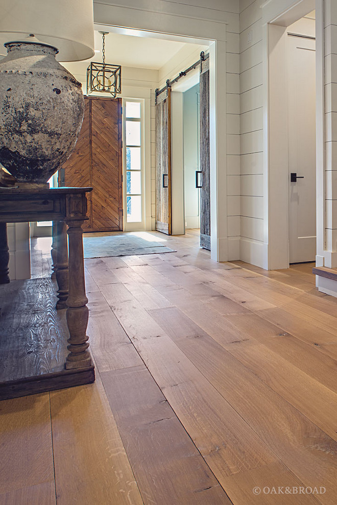 Mixed Wood Palette- Your hardwood floor may be the largest wood surface in the room, but it's not the only one. By thinking of wood textures and finishes as colors in a palette, you can create a look that's lively and interesting Oak & Broad