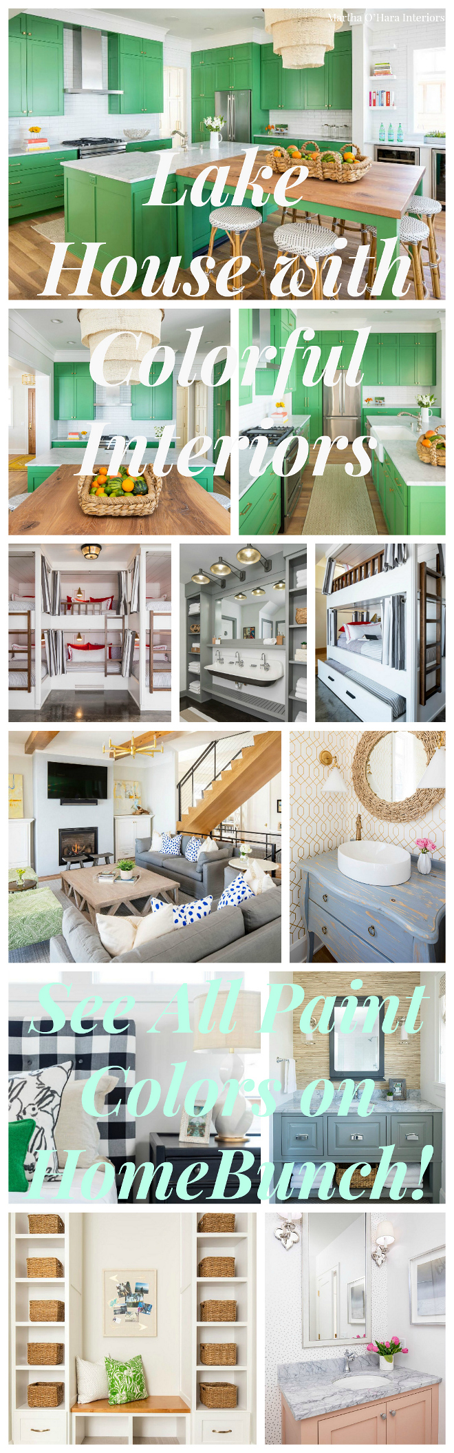 Lake House with Colorful Interiors. See paint colors on Home Bunch