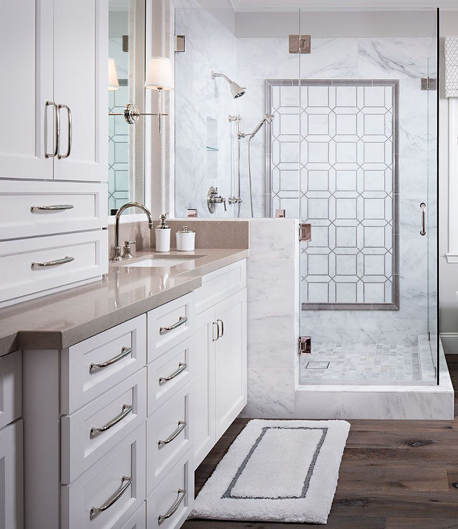Bathroom Countertop and Shower Tile. Countertop is Cosentino and the shower tiles are Asian Carrera Honed. Bathroom Countertop and Shower Tile Ideas. Bathroom Countertop and Shower Tiles. Bathroom Countertop and Shower Tile #Bathroom #Countertop #Shower #Tile Tracy Lynn Studio