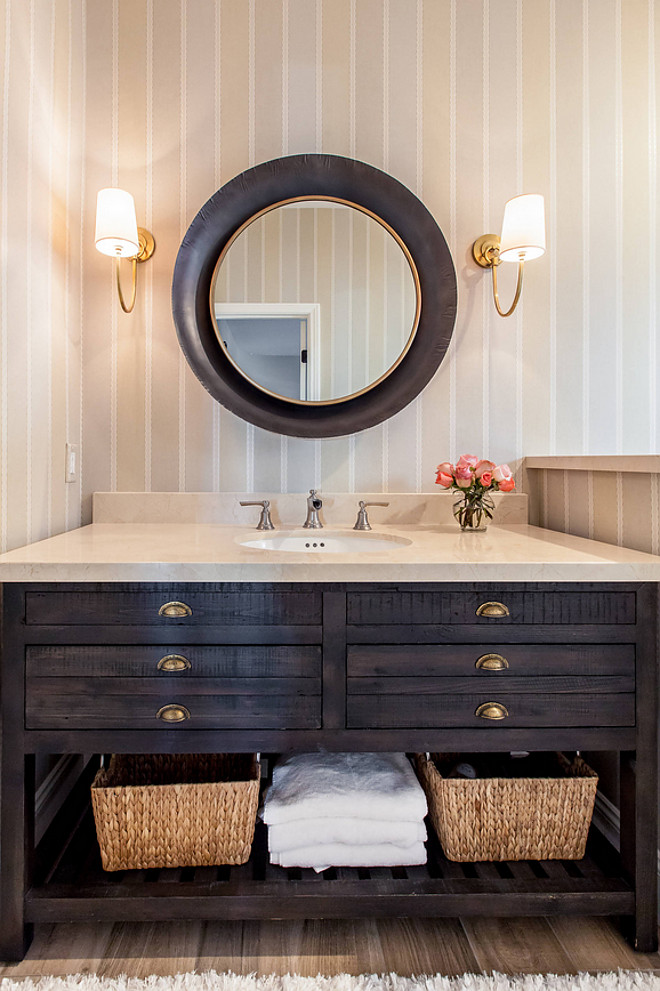 Bathroom Vanity. The bathroom vanity is from Restoration Hardware. The designed used the sink that came with and added a crema marble slab countertop. #BathroomVanity #Bathroom #Vanity