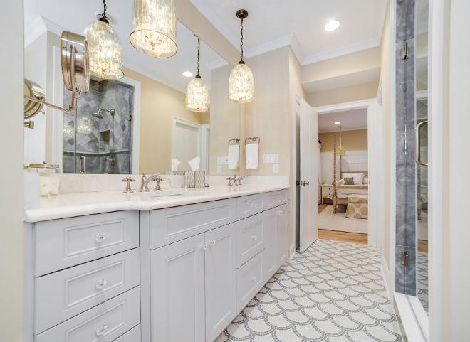 Bathroom pendant light. Bathroom pendant lighting. Bathroom pendant lights. The mercury glass pendants are by Regina Andrew. Bathroom pendant light #Bathroom #pendantlight Echelon Custom Homes