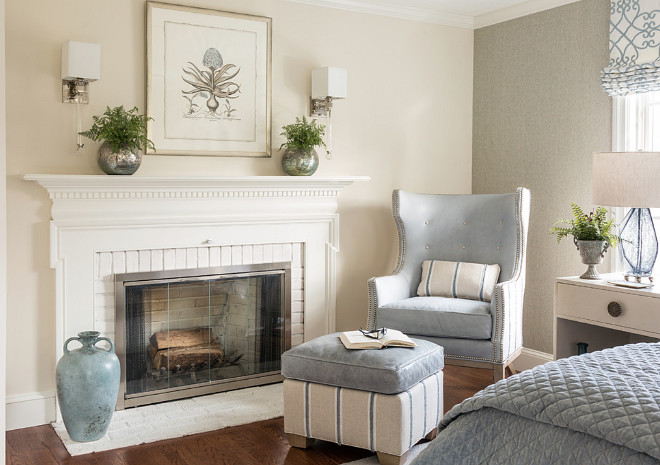 Bedroom Fireplace. With today's technology it's easier than ever to add an electric or gas fireplace to an existing bedroom. You can choose between wall-mounted options or a traditional floor-based fireplace. #Bedroomfireplace #bedroom #fireplace Casabella Interiors