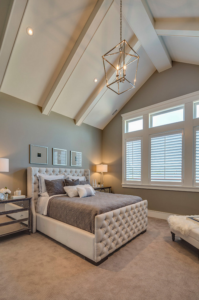 Bedroom Paint Color Rockport HC-105 Benjamin Moore in eggshell. The trim is Benjamin Moore, Cloud White OC-130 in Semi-gloss. The ceiling paint is from Benjamin Moore, Cloud White OC-130 flat. #RockportHC105BenjaminMoore #BenjaminMooreCloudWhiteOC130 Clay Construction Inc.