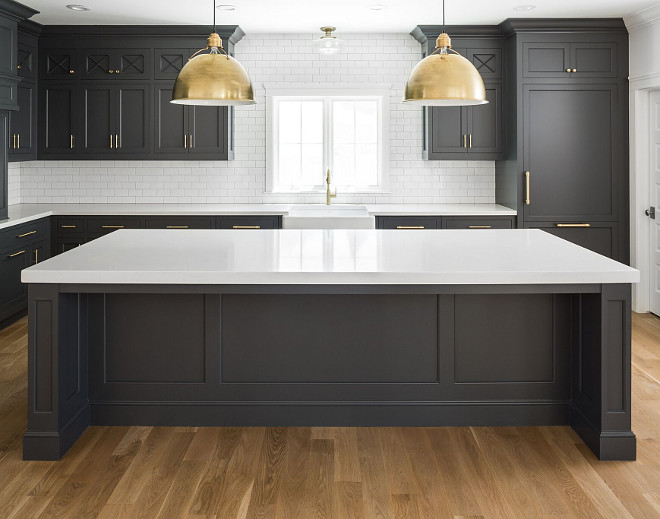 Hot New Kitchen Trend: Dark Cabinets, Subway Tile & Shiplap - Home Ideas For Kitchen Cabinets White Tile on wood for kitchen cabinets, black for kitchen cabinets, granite for kitchen cabinets, white tile tile, glass for kitchen cabinets, white tile wood flooring,