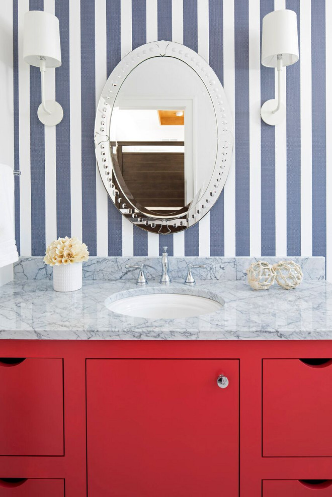 Blue and white bathroom. Coastal Blue and white bathroom ideas. Coastal Blue and white bathroom design. Blue and white bathroom. Blue and red in a fresh way! The blue and white striped wallpaper is by Kate Spade. Blue and white bathroom #Blueandwhitebathroom #coastalBlueandwhitebathroom Martha O'Hara Interiors