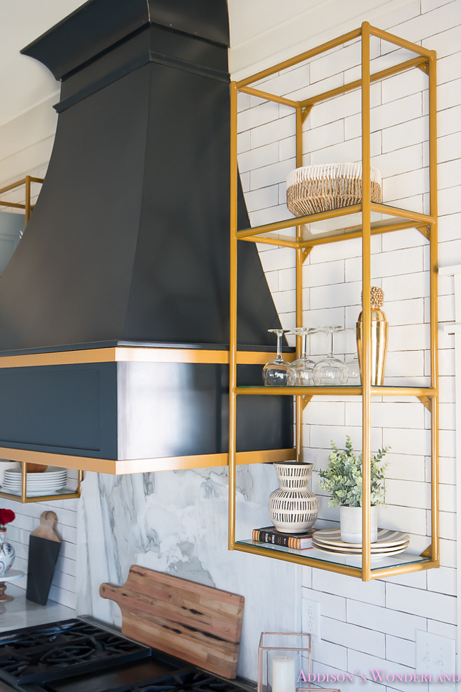 Brass Shelves. Kitchen Brass Shelves. Brass Shelves. Kitchen Brass Shelves Kitchens Brass Shelves. Kitchen Brass Shelves #BrassShelves #KitchenBrassShelves #shelves Home Bunch's Beautiful Homes of Instagram @addisonswonderland