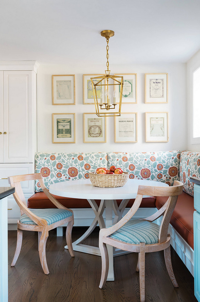 Breakfast nook banquette. Breakfast nook with gallery wall art, Darlana lantern lighting and custom banquette. Breakfast nook banquette. Breakfast nook banquette. Breakfast nook banquette. Breakfast nook banquette #Breakfastnookbanquette #Breakfastnook #banquette Twelve Chairs