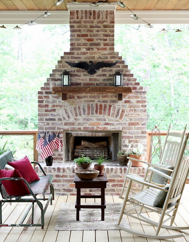 Brick Exterior Fireplace. Reclaimed Brick Exterior Fireplace. Brick Exterior Fireplace Ideas #BrickExterior #BrickFireplace #ReclaimedBrickFireplace #BrickFireplaceIdeas Bret Franks Construction, Inc.
