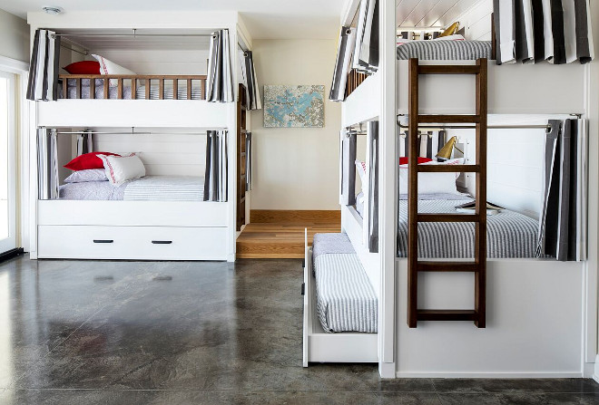 Bunk bed curtains. Best Bunk Bed Curtains Design Ideas. Loft Best Bunk Bed Curtains Design. The lower level bunk room sleeps 12; each bunk has its own hand aged brass sconce, curtains and charging station. DIY Best Bunk Bed Curtains Design Ideas #Bunkbedcurtains # BunkBedCurtainsDesignIdeas #LoftBunkbeds #loftbeds #BunkBed #Curtains #DIY Martha O'Hara Interiors