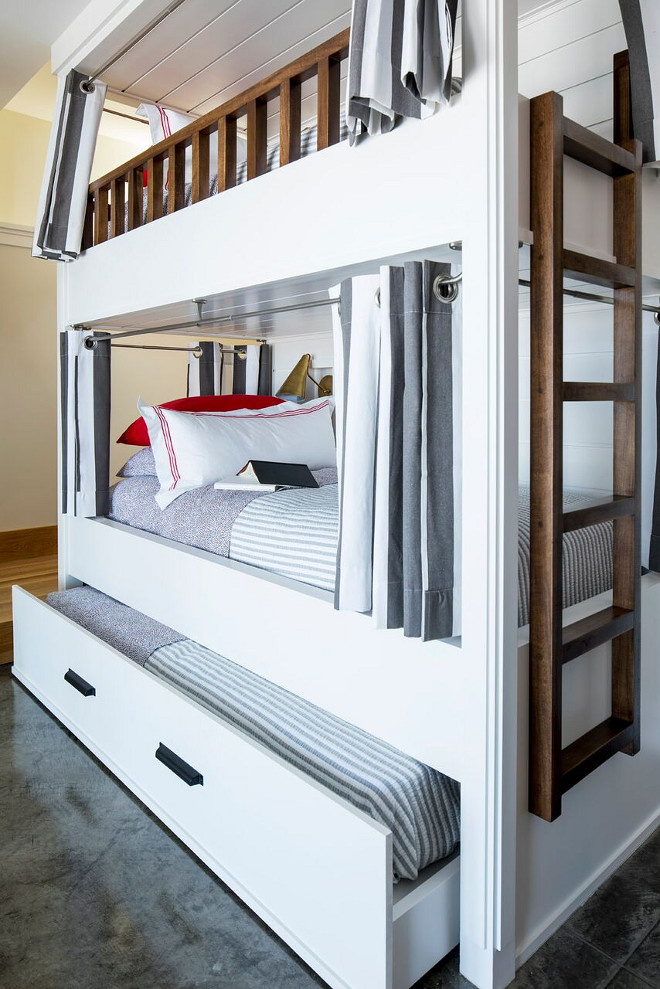 Bunk bed with trundle. Bunk bed with trundle bed. Bunkroom Bunk bed with trundle #Bunkroom #Bunkbed #trundlebed #trundlebunkroom Martha O'Hara Interiors