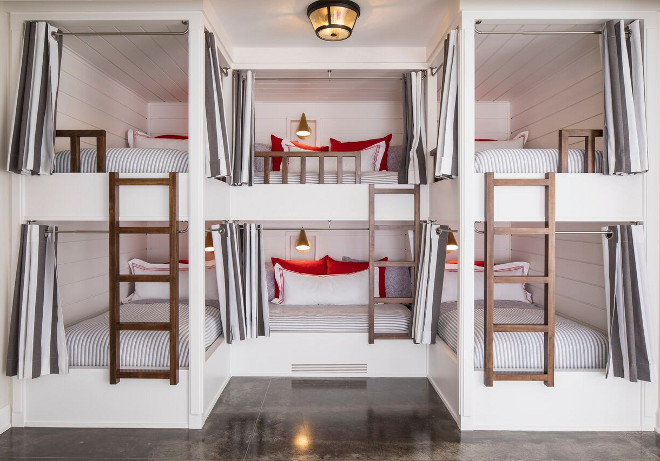 Bunk room with six bunk beds. Smart bunk bed layout. Each bunk has its own hand aged brass sconce and charging station. Bunk room with smart bunk bed layout sleeping six. Bunk room Bunk Beds #Bunkroom #sixbunkbeds #6bunkbeds #Smartbunkbedlayout #bunkbedlayout #Bunkrooms Martha O'Hara Interiors