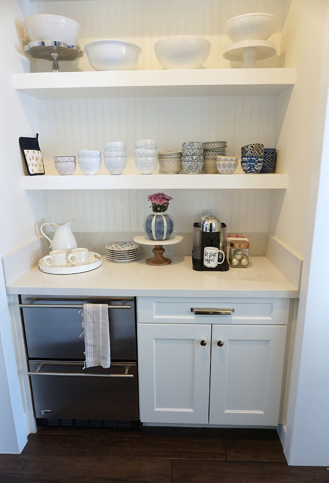 Butlers Pantry Drawer Dishwashwer. Butlers Pantry Drawer Dishwashwer, open shelves and white quartz countertop. Butlers Pantry Drawer Dishwashwer. Butlers Pantry Drawer Dishwashwer #ButlersPantry #DrawerDishwashwer
