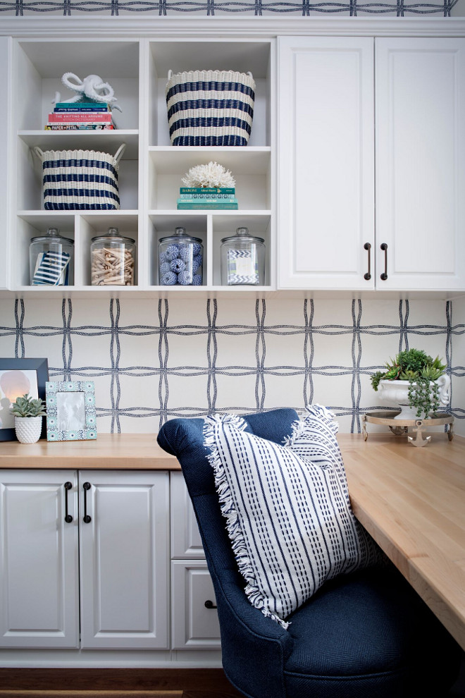 C​raft ​R​oom​. C​raft ​R​oom​ with nautical wallpaper. Gorgeous craft room with built in cabinets and a nautical blue and white wallpaper. Wallpaper is Phillip Jefferies - Why Knot in Navy on White Paperweave. C​raft ​R​oom​ with nautical wallpaper. C​raft ​R​oom​ with nautical wallpaper. #C​raftR​oom​ #nauticalwallpaper #wallpaper Tracy Lynn Studio