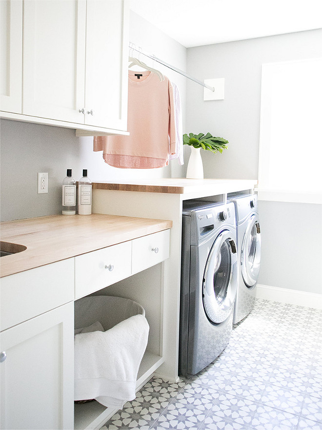 Cement Tile Laundry Room Ideas. Laundry room features butcher block countertop and cement floor tile. Cement Tile Laundry Room Ideas. Cement Tile Laundry Room Ideas. Cement Tile Laundry Room Ideas #CementTile #LaundryRoom #LaundryRoomIdeas Bria Hammel Interiors