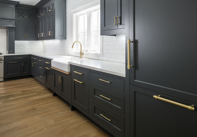 Charcoal Gray Cabinets with Brass Hardware. Charcoal Gray Cabinets with Brass Hardware Ideas. Charcoal Gray Cabinets with Brass Hardware. Charcoal Gray Cabinets with Brass Hardware #CharcoalGrayCabinets #CabinetBrassHardware Fox Group Construction