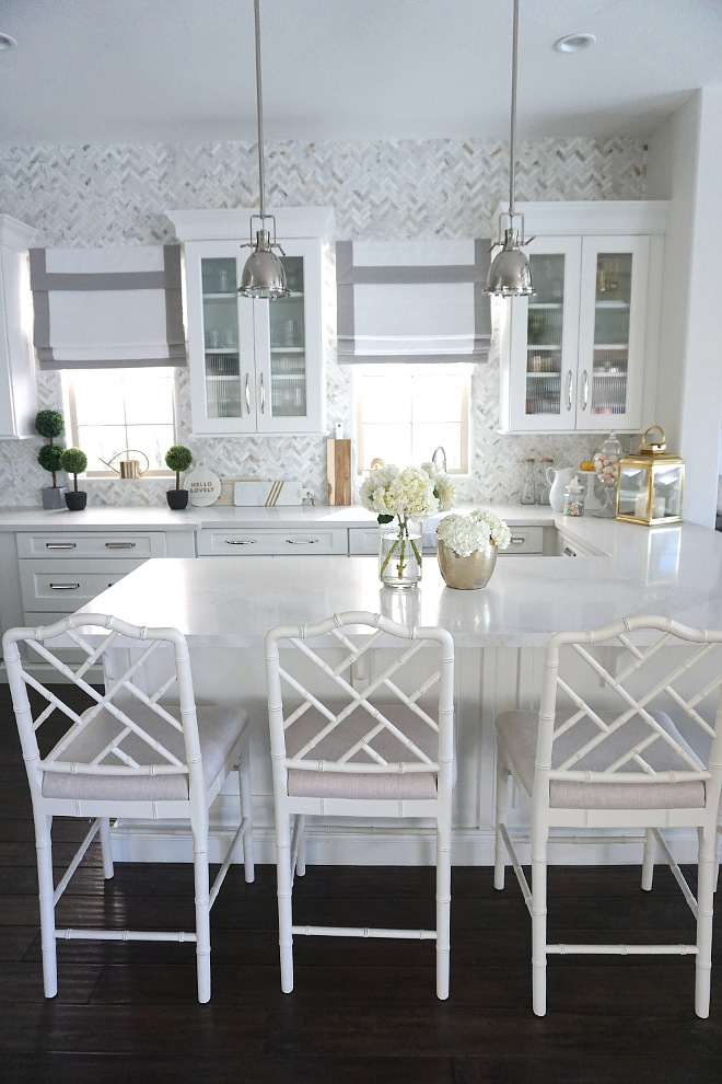 Chippendale Barstool. Kitchen with white Chippendale Barstools. Chippendale Barstools. Chippendale Barstools White Chippendale Barstools #ChippendaleBarstool WhiteChippendaleBarstools #ChippendaleBarstools Beautiful Homes of Instagram @MyHouseOfFour