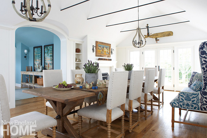 Coastal Dining Room. The dining room's pristine white walls, painted in Benjamin Moore White Dove, beautifully contrasts with the antique chestnut floors. Coastal Dining Room. Coastal Dining Room. Coastal Dining Room. Coastal Dining Room. Coastal Dining Room #CoastalDiningRoom #Coastal #DiningRoom Nancy Serafini