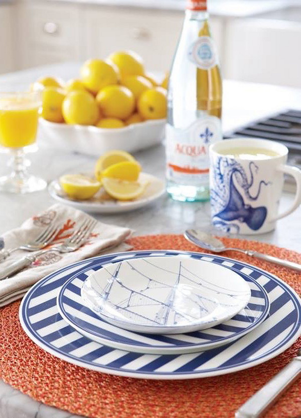 Coastal Dinnerware. Blue and white show up again in the Caskata dinnerware. Nancy Serafini