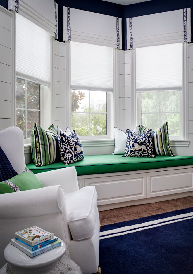 Color Palette. Navy Blue, white and Kelly Green. Fresh Color Palette. Window Pillows: Custom using Duralee & Robert Allen Fabrics. Window Valances: Kravet & Lee Jofa. Navy Blue, white and Kelly Green #ColorPalette #NavyBlue #blueandwhite #navyblue #KellyGreen Tracy Lynn Studio