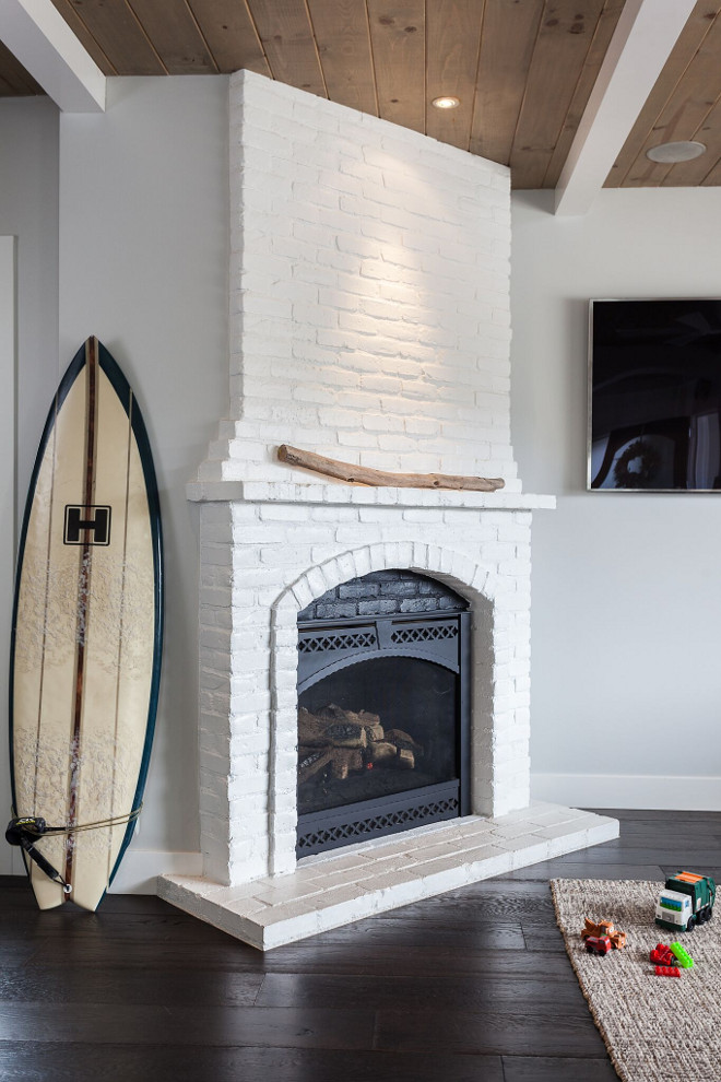 Corner Fireplace Brick Painted Farmhouse