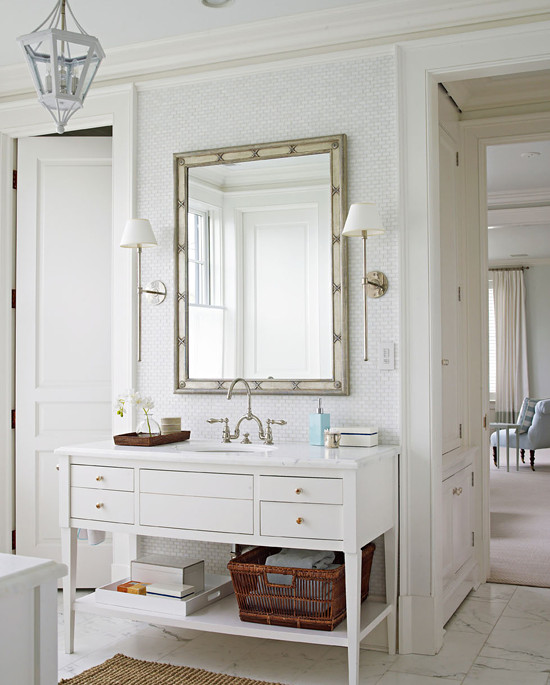 Custom Bathroom Vanity with Open Shelf for Baskets