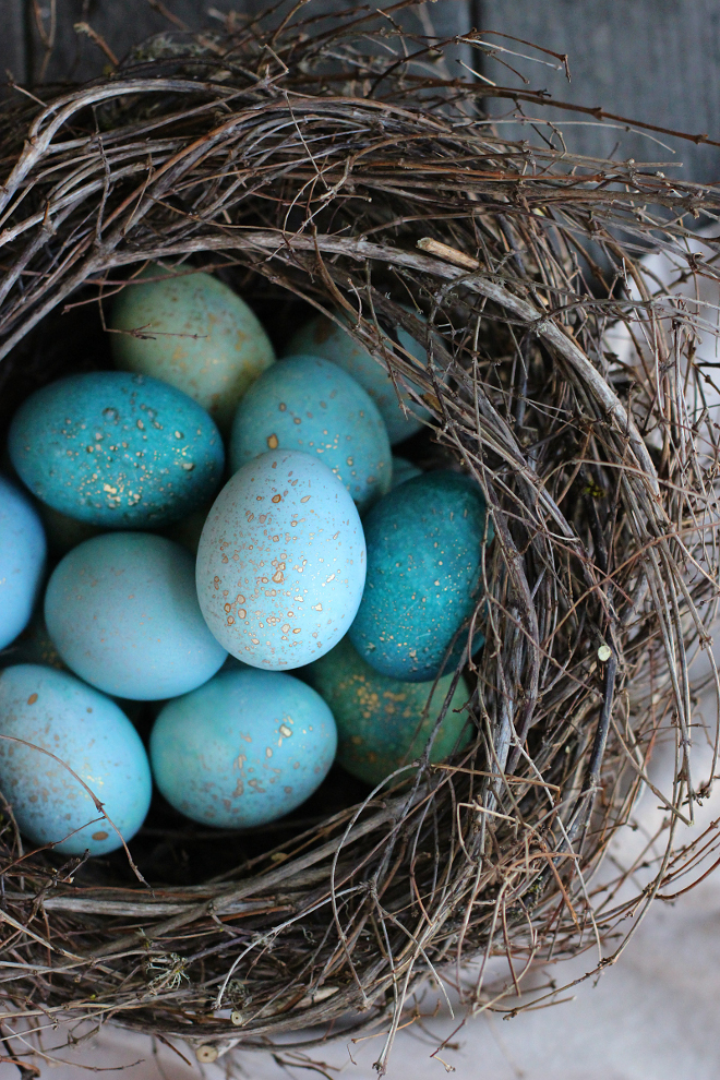 DIY Dyed Robin Eggs. DIY Dyed Robin Eggs. Easter Eggs #Eastereggs #DIYDyedEggs #RobinEggs via Honestly Yum.