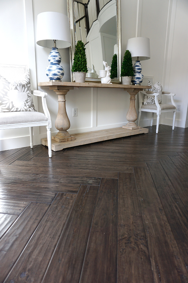 Dark Wood Herringbone Flooring. Dark Wood Herringbone Flooring. Flooring: Antico Provenza Vintage 547. Dark Wood Herringbone Flooring. Dark Wood Herringbone Flooring #DarkWood #HerringboneFlooring Beautiful Homes of Instagram @MyHouseOfFour