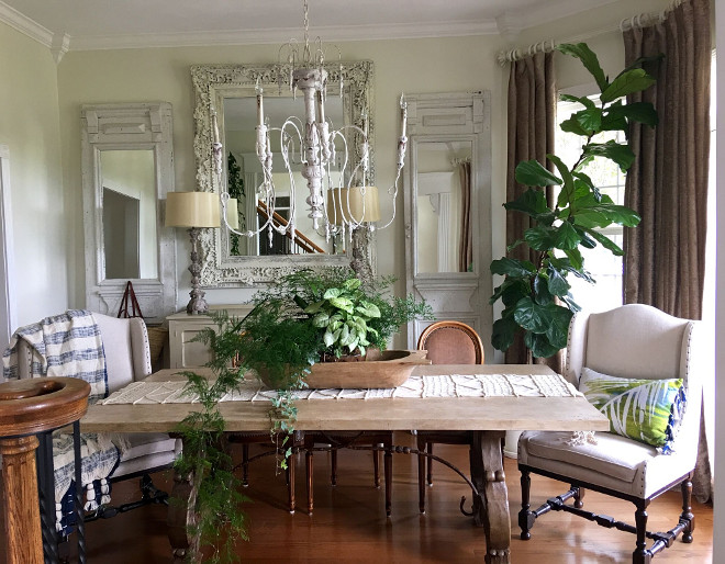 Dining room. French Farmhouse Dining Room. I chalk painted the mirror, the side mirrors were added to old doors. The chandelier is from Sunbelt lighting! Dining room. French Farmhouse Dining Room. Dining room. French Farmhouse Dining Room #Diningroom #Frenchdiningroom #Farmhouse #FarmhouseDiningRoom #DiningRoom Beautiful Homes of Instagram @cindimc.ivoryhome