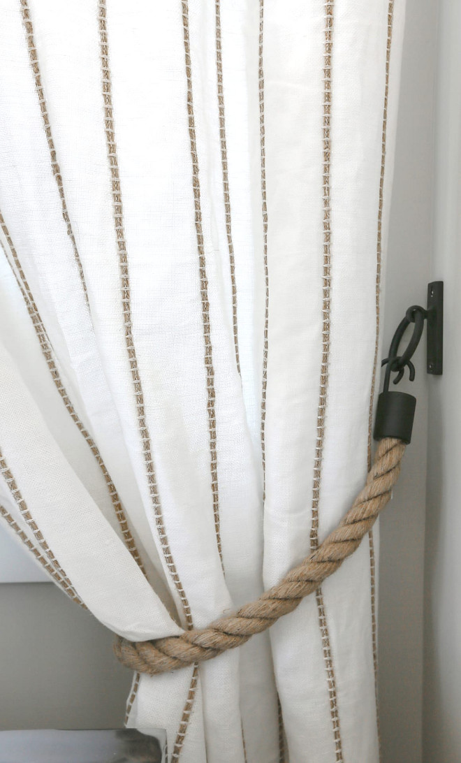 Drapery Iron and rope tiebacks. I added the rope tie backs and the linen drapes with the rope detail for texture in the room. Iron and rope tiebacks. Iron and rope tiebacks #Ironandropetiebacks #Draperies #ropetiebacks JoAnn Regina Home
