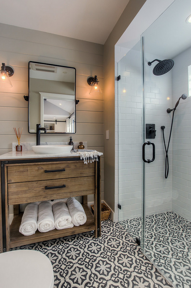 Farmhouse Bathroom with shiplap, rustic wood vanity, frameless shower and cement tile flooring. Vanity is from Signature Hardware and cement floor tile is from Cement Tile Shop - Bordeaux III pattern. Farmhouse Bathroom with shiplap, rustic wood vanity, frameless shower and cement tile flooring ideas. Farmhouse Bathroom with shiplap, rustic wood vanity, frameless shower and cement tile flooring #FarmhouseBathroom #Farmhouse #Bathroom #shiplap #rusticwood #rusticvanity #framelessshower #cementtile #cementfloortile #cementflooring Spazio LA