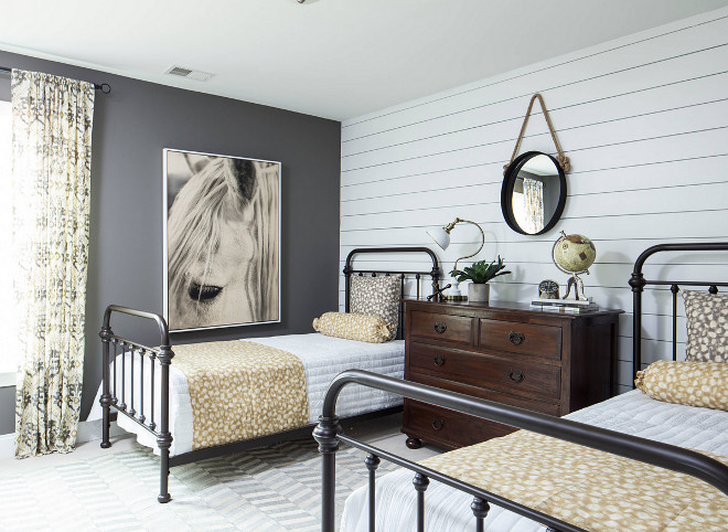 Farmhouse Bedroom. Farmhouse bedroom with shiplap wall and matte metal beds. Farmhouse Bedroom. Farmhouse bedroom with shiplap wall and matte metal beds. Farmhouse Bedroom. Farmhouse bedroom with shiplap wall and matte metal beds #FarmhouseBedroom #Farmhouse #bedroom #Shiplap #mattemetalbed #blackmetalbed Crescent Homes