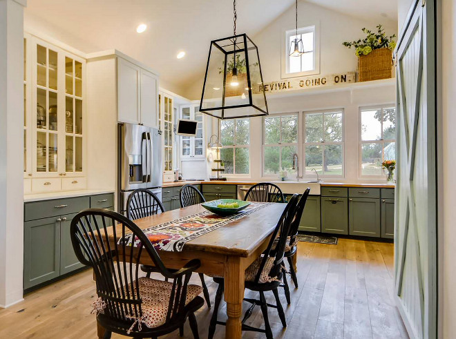 Farmhouse Kitchen with farmhouse table and barn door. Farmhouse Kitchen with farmhouse table and barn door. Farmhouse Kitchen with farmhouse table and barn door. Farmhouse Kitchen with farmhouse table and barn door #FarmhouseKitchen #farmhousetable #barndoor Van Wicklen Design
